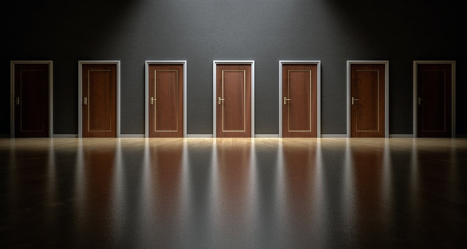 A corridor with many doors (Credit: pixabay/qimono))
