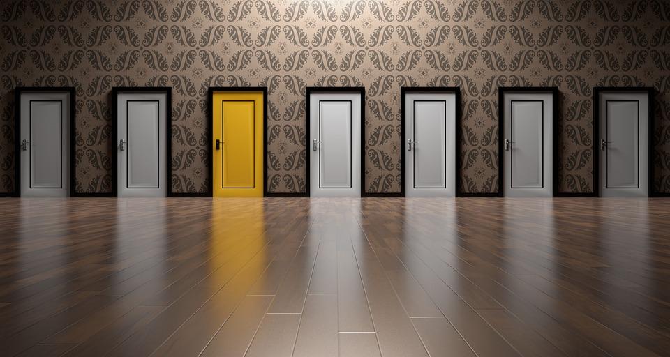 Many doors along a corridor (Credit: pixabay/qimono)
